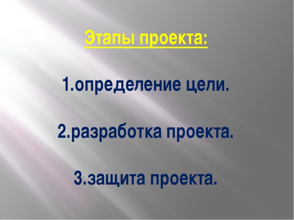 Этапы проекта: 1.определение цели. 2.разработка проекта. 3.защита проекта.
