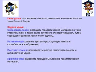 Цель урока: закрепление лексико-грамматического материала по теме Present Sim
