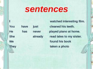 sentences I watched interesting film. You have just cleaned his teeth. He has