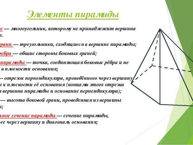 Элементы пирамиды Основание — многоугольник, которому не принадлежит вершина...