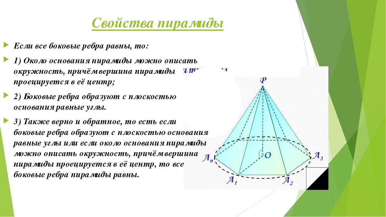 Свойства пирамиды Если все боковые ребра равны, то: 1) Около основания пирами...