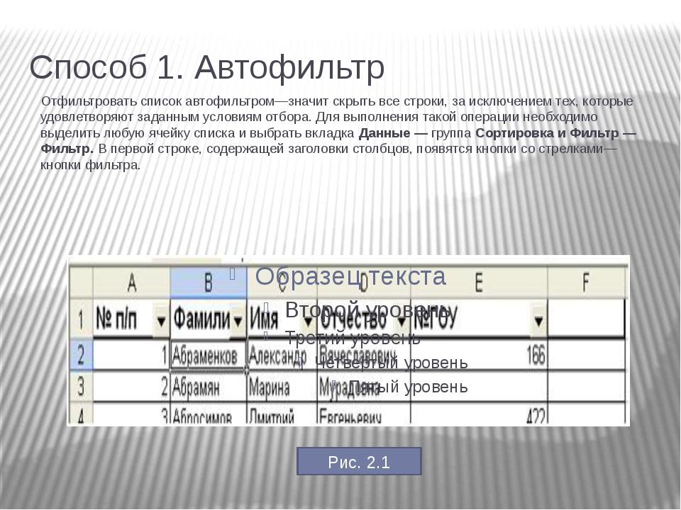 Способ 1. Автофильтр Отфильтровать список автофильтром—значит скрыть все стр...