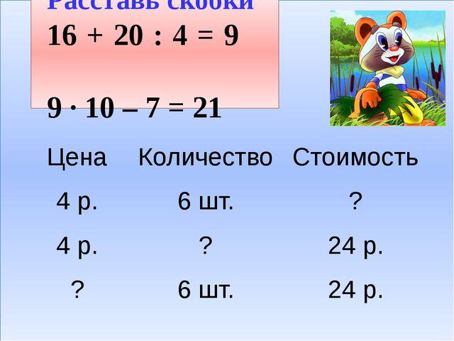 Расставь скобки 16 + 20 : 4 = 9 9 · 10 – 7 = 21 Цена Количество Стоимость...
