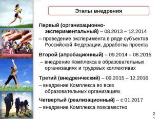 Этапы внедрения Первый (организационно-экспериментальный) – 08.2013 – 12.2014
