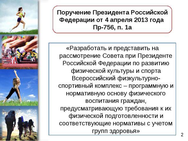 «Разработать и представить на рассмотрение Совета при Президенте Российской Ф...