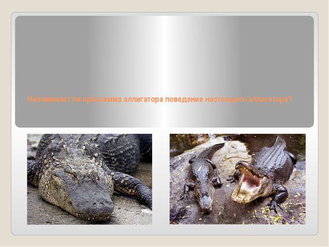 Напоминает ли программа аллигатора поведение настоящего аллигатора?