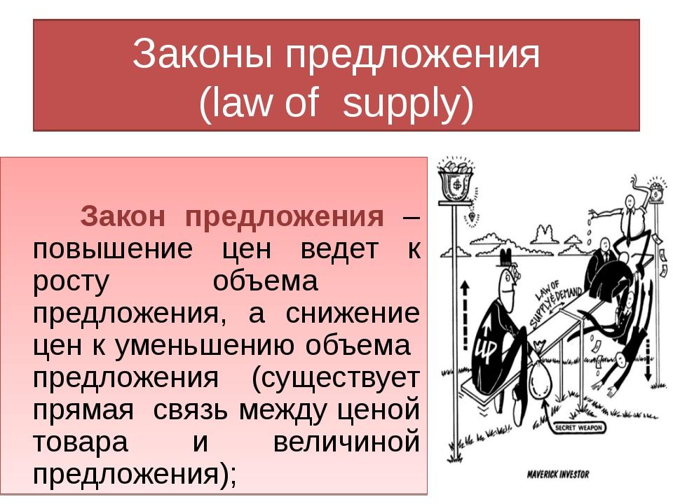 Законы предложения (law of supply) Закон предложения – повышение цен ведет к...