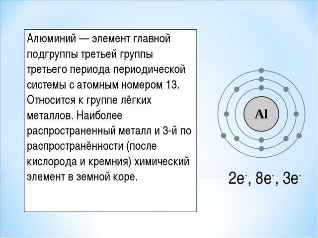 Алюминий — элемент главной подгруппы третьей группы третьего периода периодич...