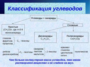 Углеводы = сахариды Простые (СН2О)n, где n=3-9 моносахариды Сложные Дисахар