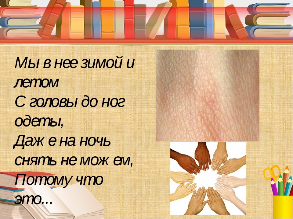 Мы в нее зимой и летом С головы до ног одеты, Даже на ночь снять не можем, П...