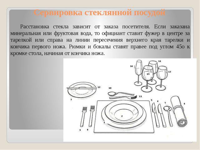 Сервировка стеклянной посудой Расстановка стекла зависит от заказа посетителя...