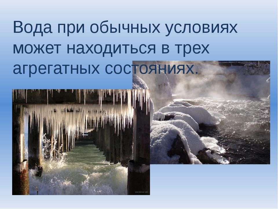 Вода при обычных условиях может находиться в трех агрегатных состояниях.