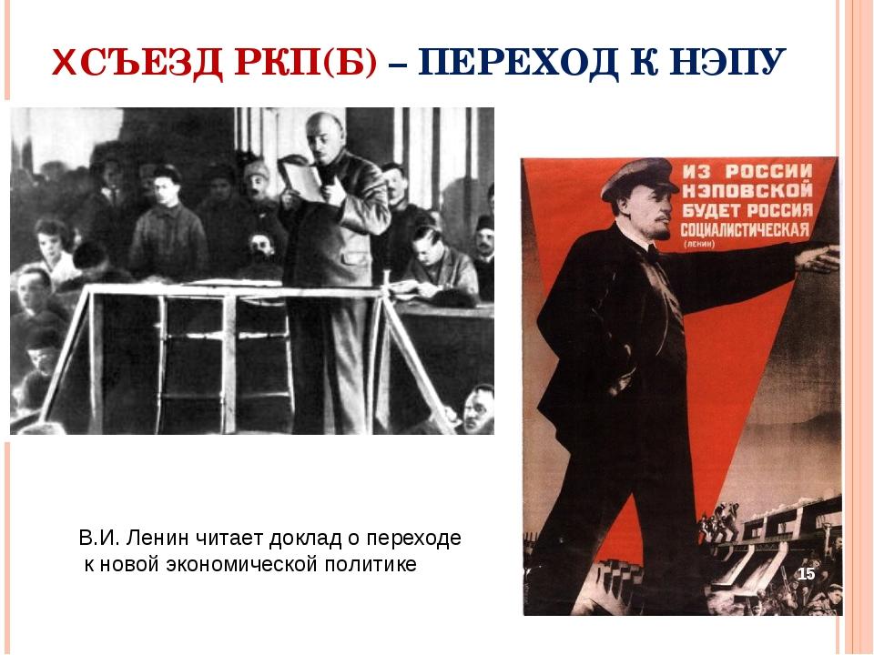 XСЪЕЗД РКП(Б) – ПЕРЕХОД К НЭПУ В.И. Ленин читает доклад о переходе к новой эк...