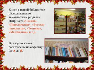 Книги в нашей библиотеке расположены по тематическим разделам. Например: «Ска