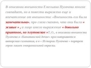 В описании внешности Емельяна Пугачева многое совпадает, но в повести выражен