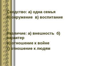 Сходство: а) одна семья б) окружение в) воспитание Различие: а) внешность б)