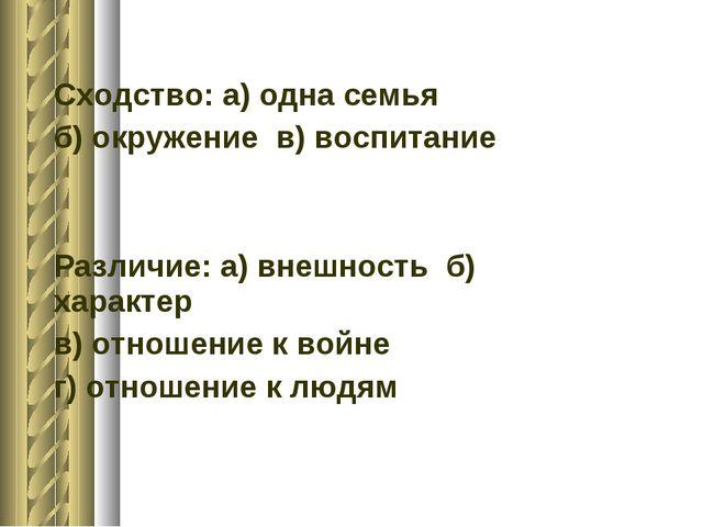 Сходство: а) одна семья б) окружение в) воспитание Различие: а) внешность б)...