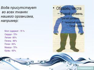 Мозг содержит - 75 % Сердце - 75% Легкие - 85% Печень - 86% Почки - 83% Мышц