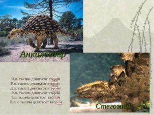 Анкилозавр Стегозавр И.п. тысяча девятьсот второй Р.п. тысяча девятьсот второ
