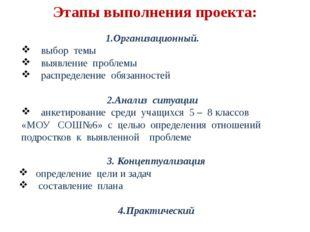 Этапы выполнения проекта: 1.Организационный. выбор темы выявление проблемы ра