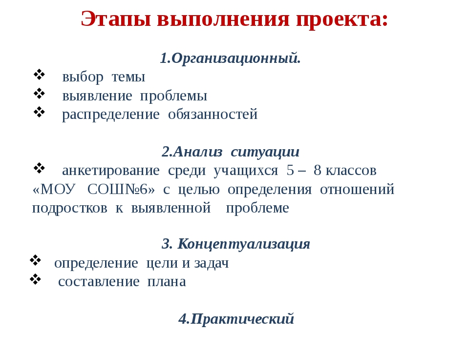 Этапы выполнения проекта: 1.Организационный. выбор темы выявление проблемы ра...