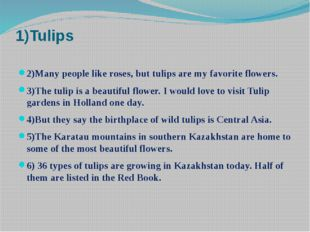 1)Tulips 2)Many people like roses, but tulips are my favorite flowers. 3)The