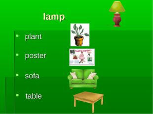 lamp plant poster sofa table