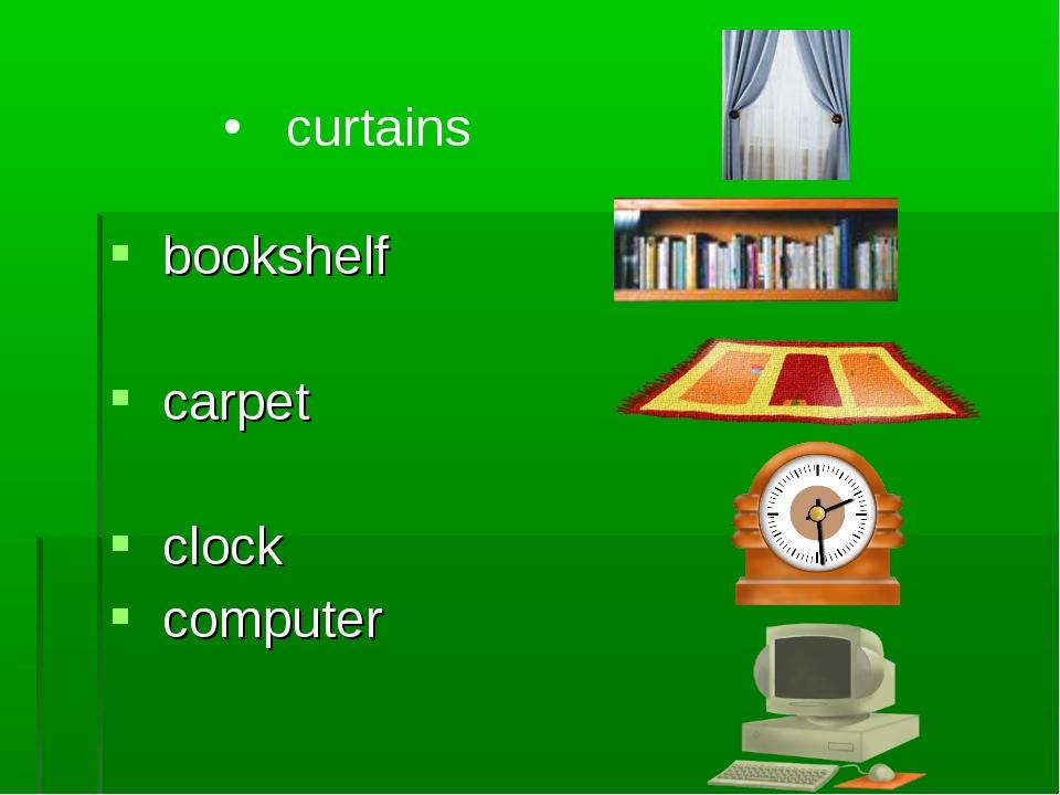 bookshelf carpet clock computer curtains