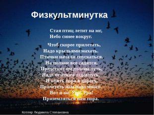 Физкультминутка Стая птиц летит на юг, Небо синее вокруг. Чтоб скорее прилета