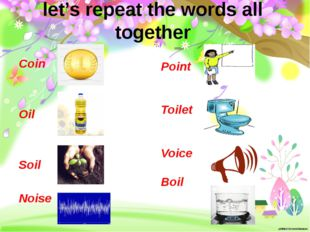 let's repeat the words all together Coin Oil Soil Noise Point Toilet Voice Boil