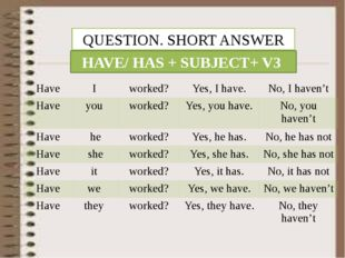 QUESTION. SHORT ANSWER HAVE/ HAS + SUBJECT+ V3 Have I worked? Yes, I have. No