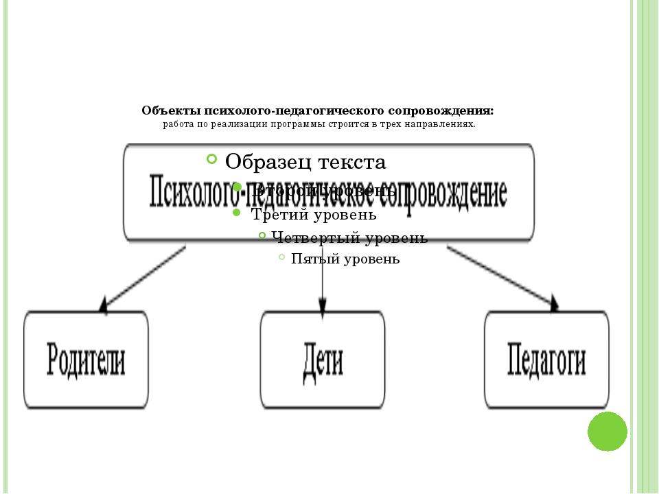 Объекты психолого-педагогического сопровождения: работа по реализации програ...