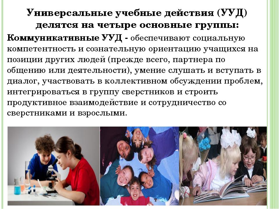 Универсальные учебные действия (УУД) делятся на четыре основные группы: Комму...