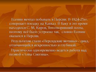 Есенин мечтал побывать в Персии. В 1924-25гг. совершает поездку на Кавказ. В