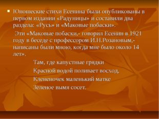 Юношеские стихи Есенина были опубликованы в первом издании «Радуницы» и соста