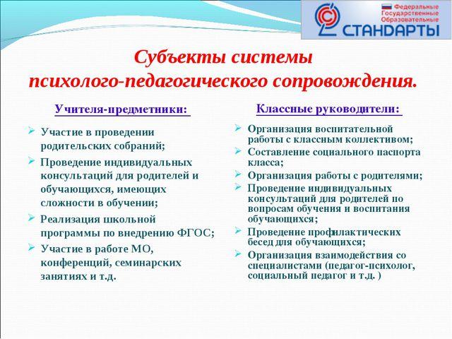 Субъекты системы психолого-педагогического сопровождения. Учителя-предметники...