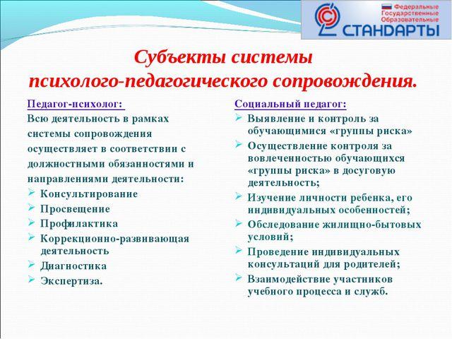 Субъекты системы психолого-педагогического сопровождения. Педагог-психолог: В...
