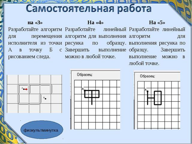 физкультминутка на «3» Разработайте алгоритм для перемещения исполнителя из т...