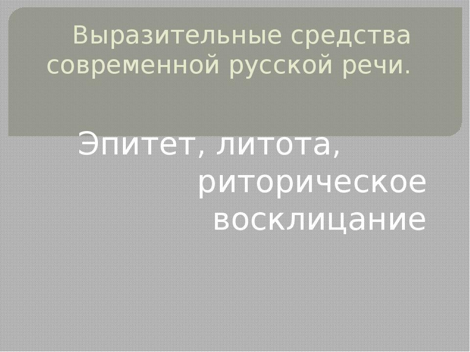 Выразительные средства современной русской речи. Эпитет, литота, риторическое...