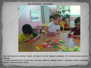 д/и «Осенние листочки» Взрослый предлагает ребёнку собрать листочки из частей