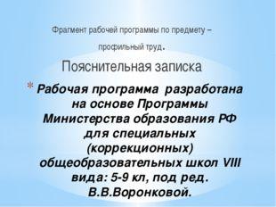 Рабочая программа разработана на основе Программы Министерства образования РФ