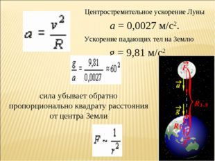 * Центростремительное ускорение Луны а= 0,0027 м/с2. g = 9,81 м/с2. Ускорени