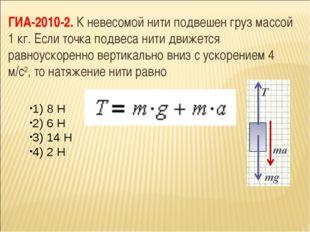 ГИА-2010-2. К невесомой нити подвешен груз массой 1 кг. Если точка подвеса ни