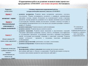 «Коррекционная работа по развитию познавательных процессов» при разработке АО