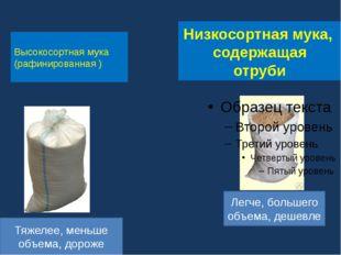 Низкосортная мука, содержащая отруби Высокосортная мука (рафинированная ) Лег