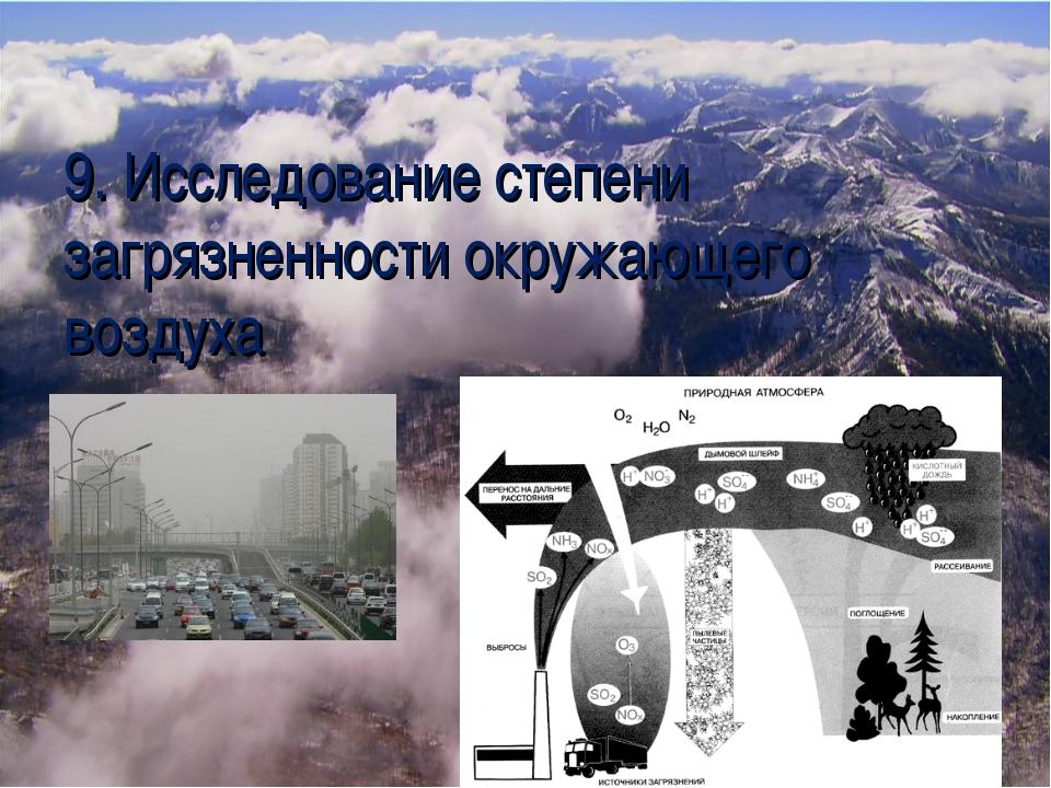 9. Исследование степени загрязненности окружающего воздуха
