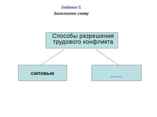 силовые ……. Способы разрешения трудового конфликта Задание 5. Заполните схему