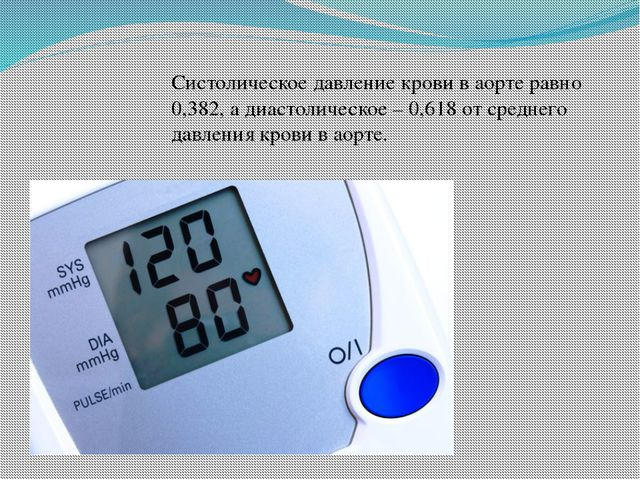 Систолическое давление крови в аорте равно 0,382, а диастолическое – 0,618 от...