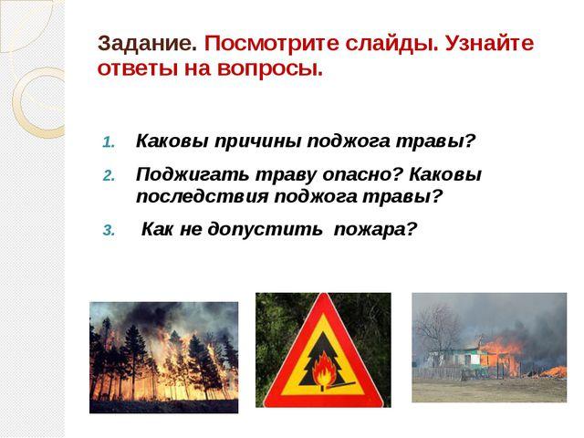 Задание. Посмотрите слайды. Узнайте ответы на вопросы. Каковы причины поджога...