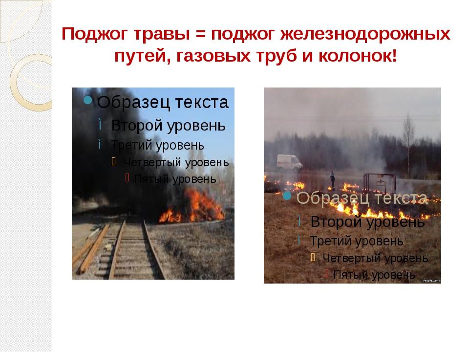 Поджог травы = поджог железнодорожных путей, газовых труб и колонок!
